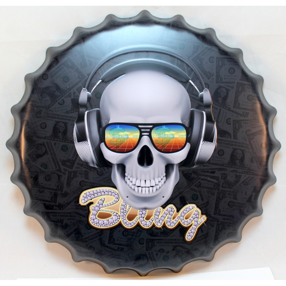Bling Skull Bottlecap Round Metal Sign Pub Game Room Bar Garage