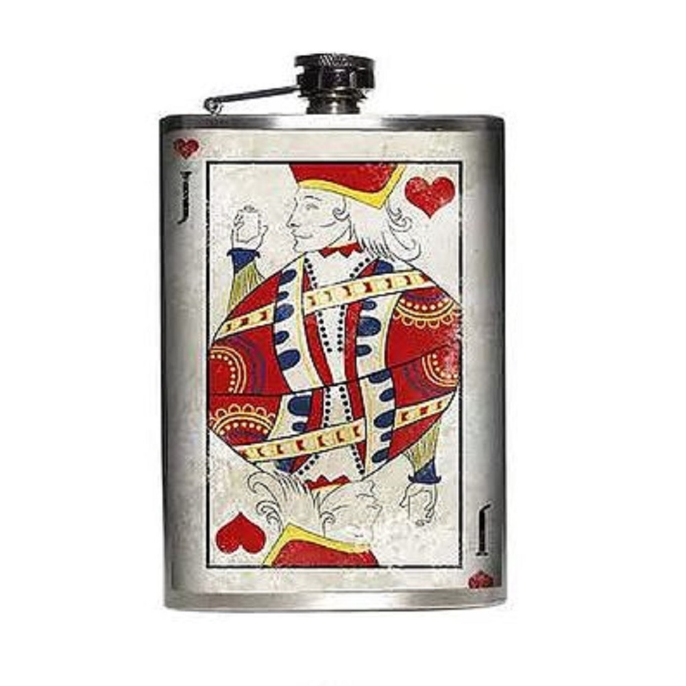 Totally Rad Jack of Hearts Gambling Western Inspired Stainless Steel 8 Oz Flask
