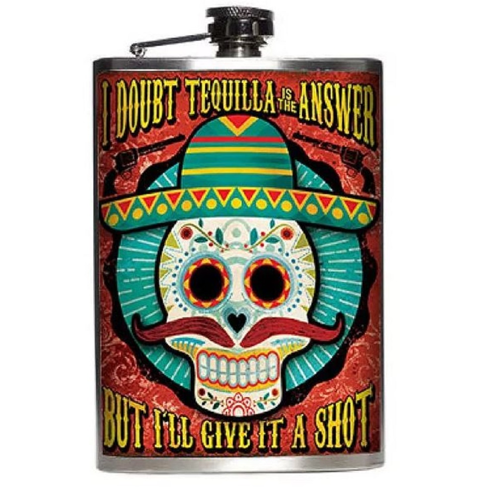 Totally Rad Tequila Not the Answer but I'll Try it Stainless Steel 8 Oz Flask