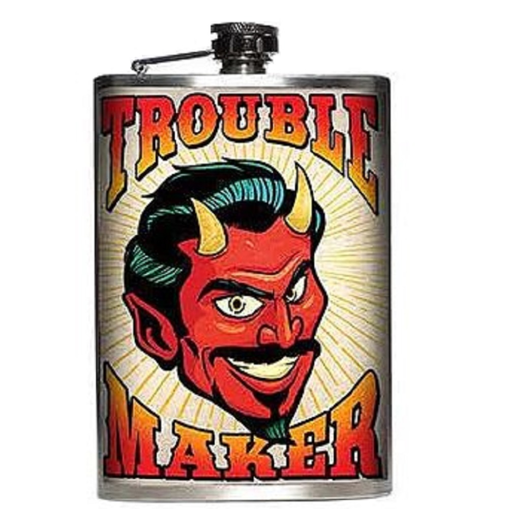 Totally Rad Trouble Maker Horned Devil Stainless Steel 8 Oz Flask