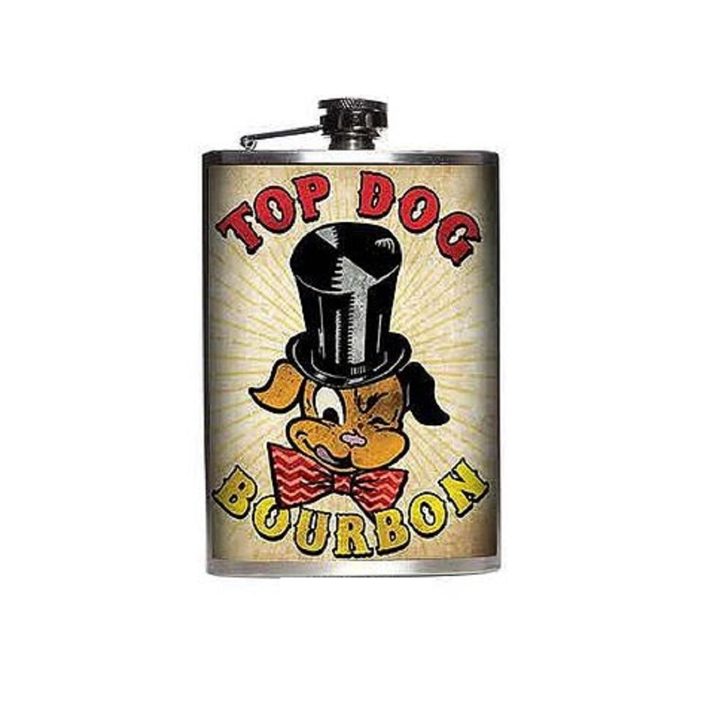 Totally Rad Top Dog Bourbon Stainless Steel 8 Oz Flask