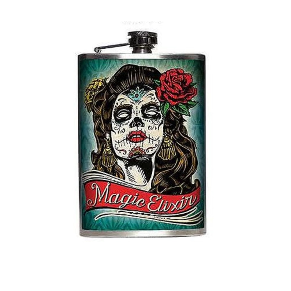 Totally Rad Magic Elixer Day of the Dead Stainless Steel 8 Oz Flask