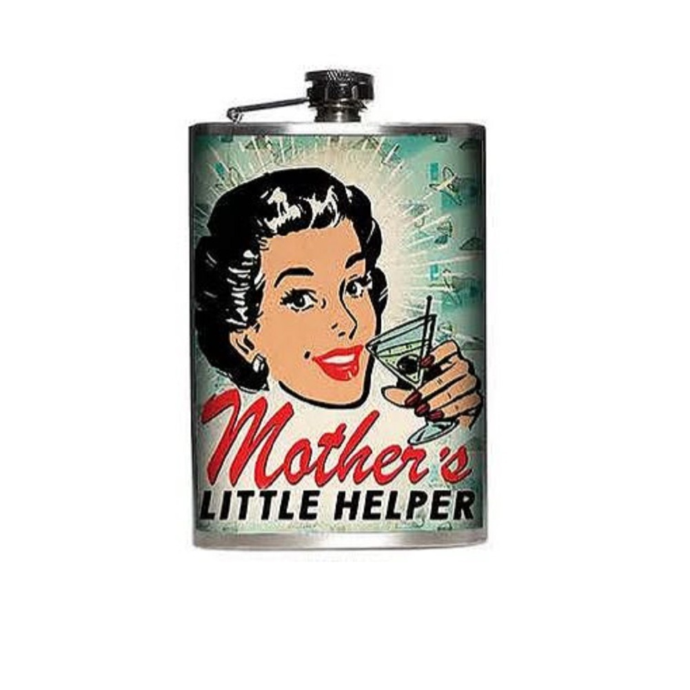 Totally Rad Mother's Little Helper Stainless Steel 8 Oz Flask