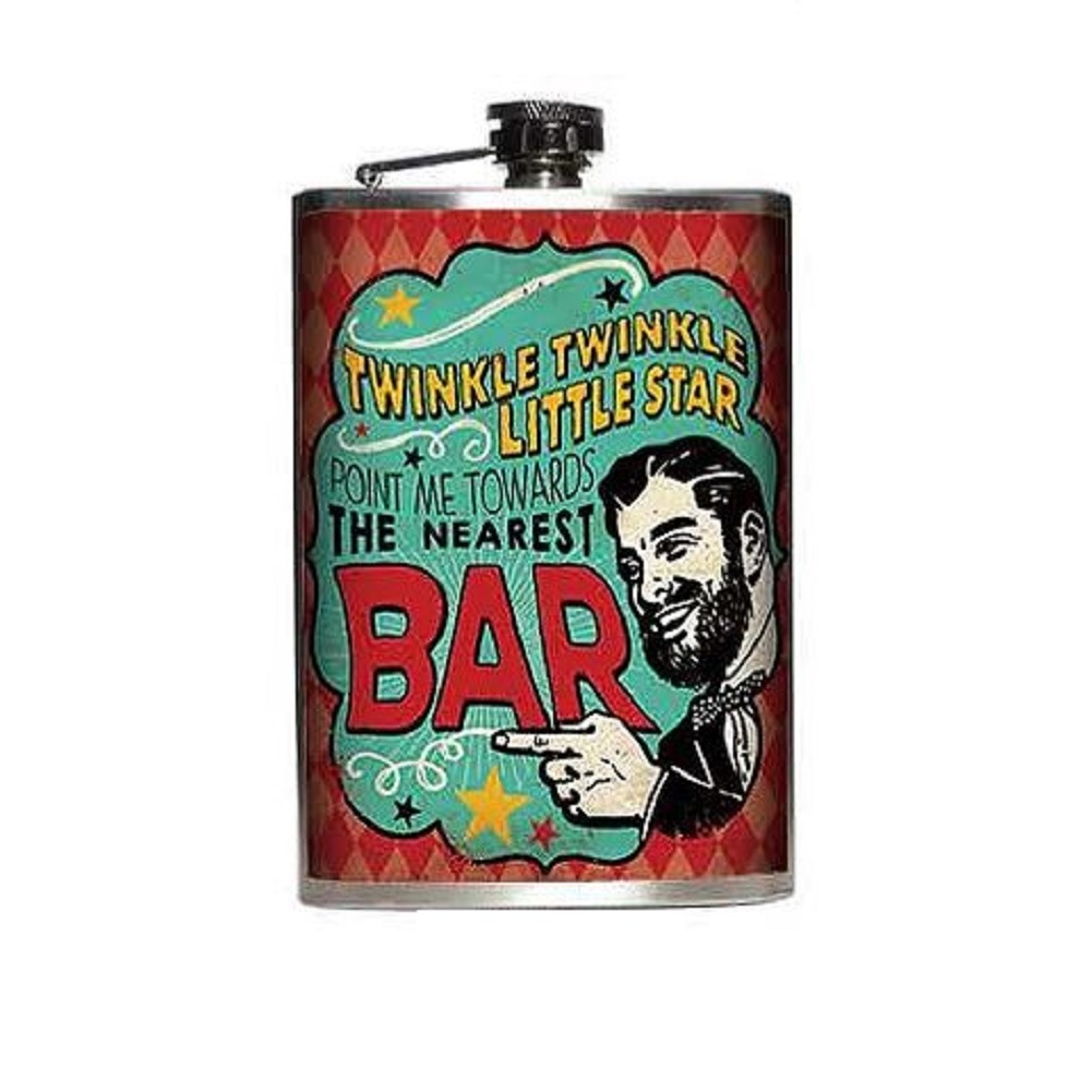 Totally Rad Twinkle Twinkle Little Star Show me Bar Stainless Steel 8 Oz Flask