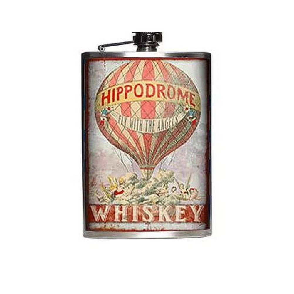 Totally Rad Hippodrome Whiskey Fly with the Angels Stainless Steel 8 Oz Flask
