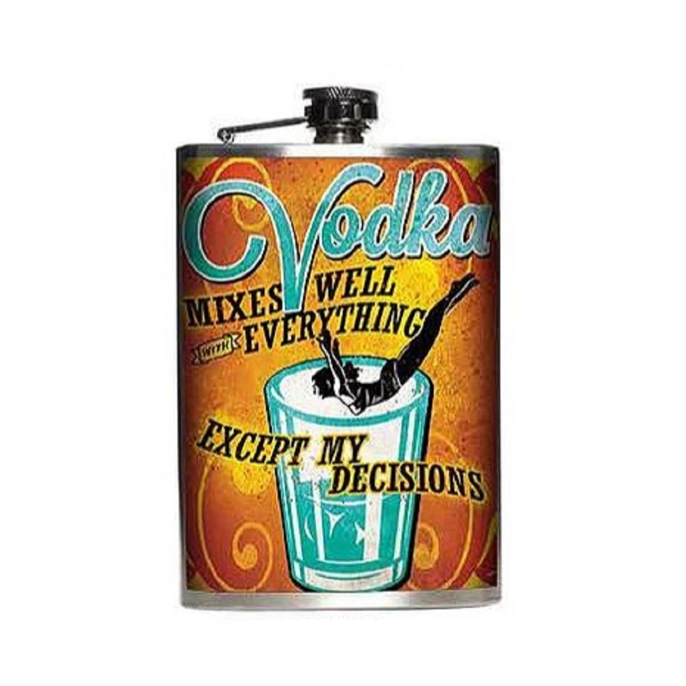 Totally Rad Vodka Mixes Well with Everything Stainless Steel 8 Oz Flask