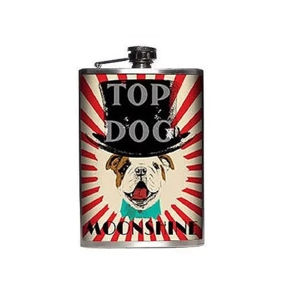 Totally Rad Top Dog Moonshine Stainless Steel 8 Oz Flask