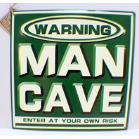 Warning Man Cave Enter At Your Own Risk Green & Wh Metal Bar Garage Sign Decor