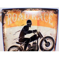 Road Race Custom Built Motorcycle Metal Tin Sign Bar Man Cave Garage New