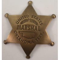 Embossed United States US Marshal Oklahoma Terr Old Western Replica Pin Back