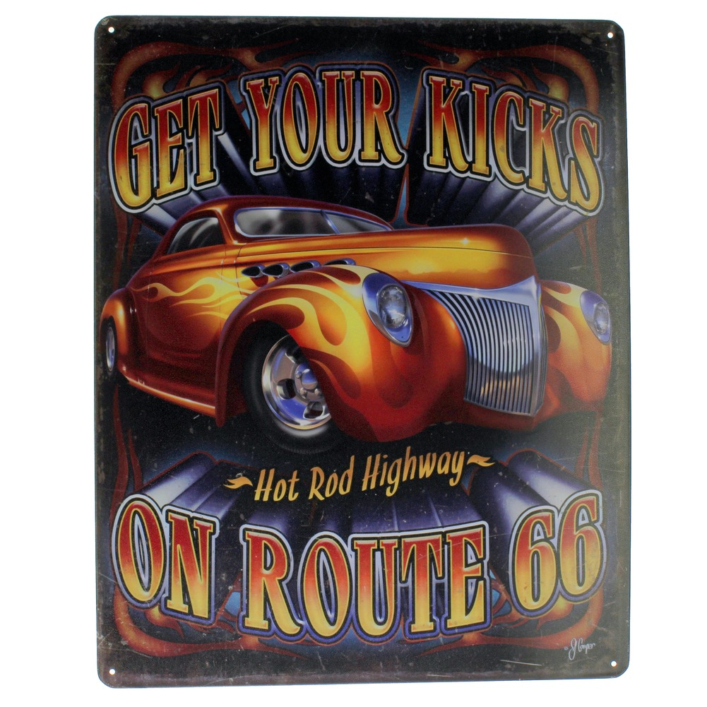 Get Your Kicks Hot Rod Highway Route 66 Funny Metal Sign Pub Game Room Bar