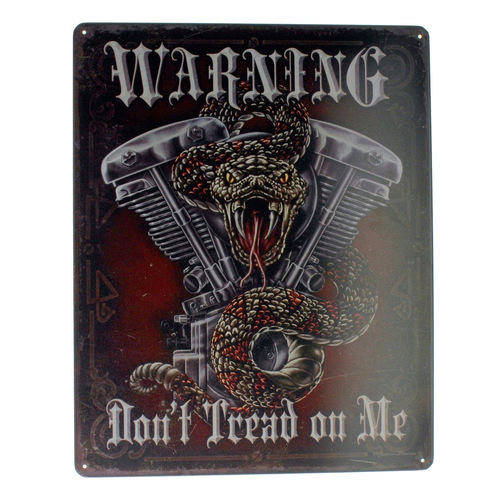 Warning Don't Tread on Me Biker Motorcycle Metal Sign Pub Game Room Bar