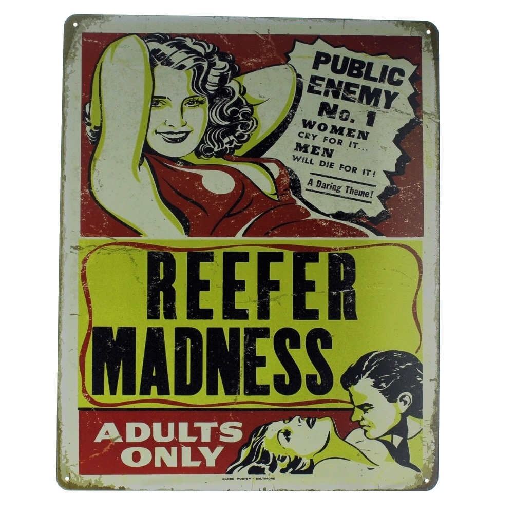 Reefer Madness Adults Only Public Enemy No. 1 Metal Sign Pub Game Room Bar