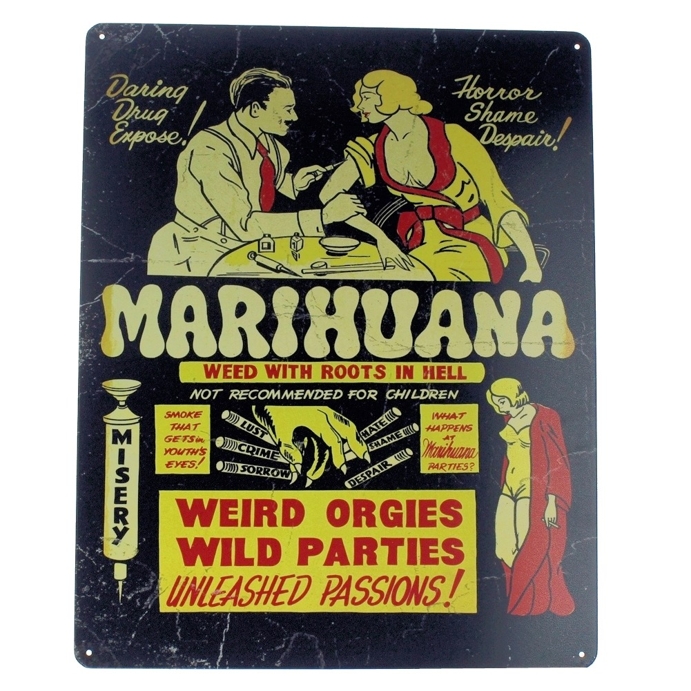 Marihuana Weird Orgies Wild Parties Passion Metal Sign Pub Game Room Bar
