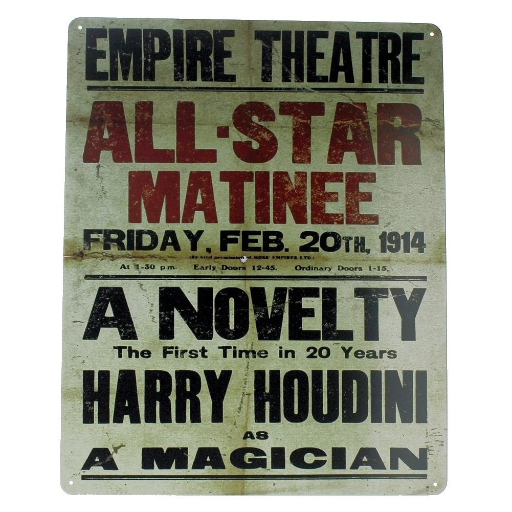 All-Star Matinee Harrry Houdini Magician Empire Theatre Metal Sign Pub Game Room Bar