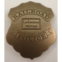 Embossed Railroad Police Lackawanna Railroad Solid Brass Badge Pin