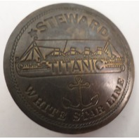 Embossed Steward Titanic White Star Line Solid Brass Badge Pin