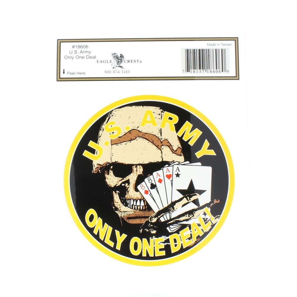 US Army Only One Deal Skull Cards Mylar Decal Window Bike Customization Sticker