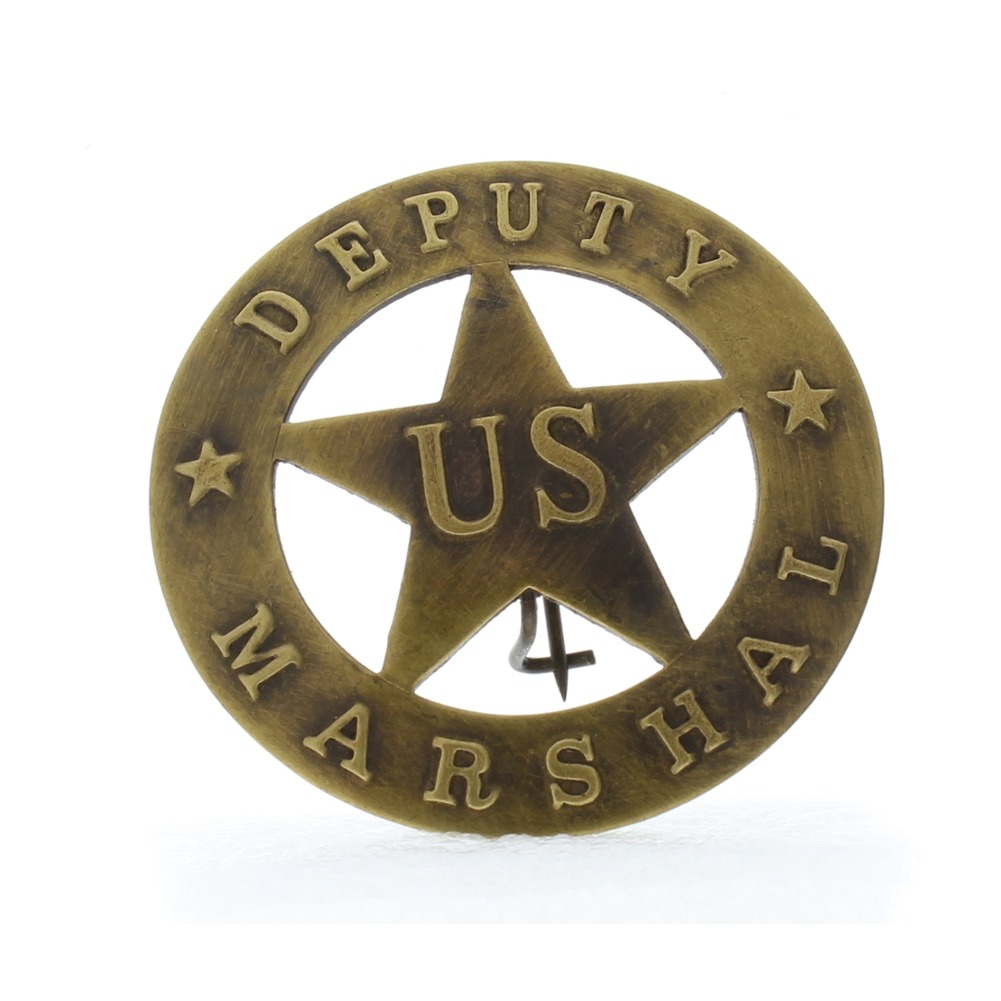 Embossed with Raised Lettering US Deputy Marshal Solid Brass Badge Pin
