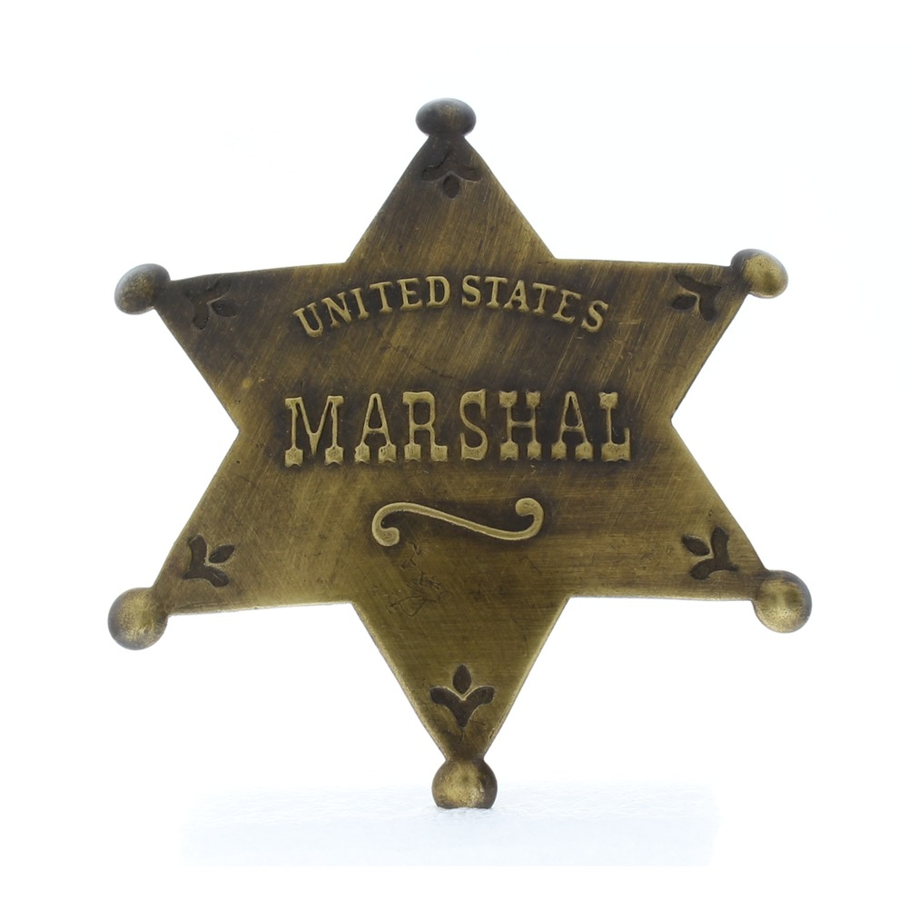 Embossed with Raised Lettering United States Marshal Solid Brass Badge Pin