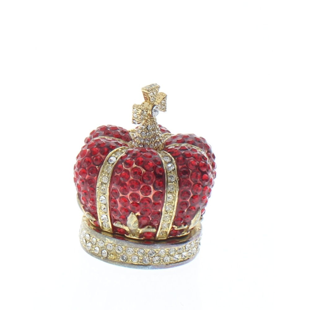 Jeweled Crimson Red Crown Crystal Ciel Hinged Collectible Trinket Box