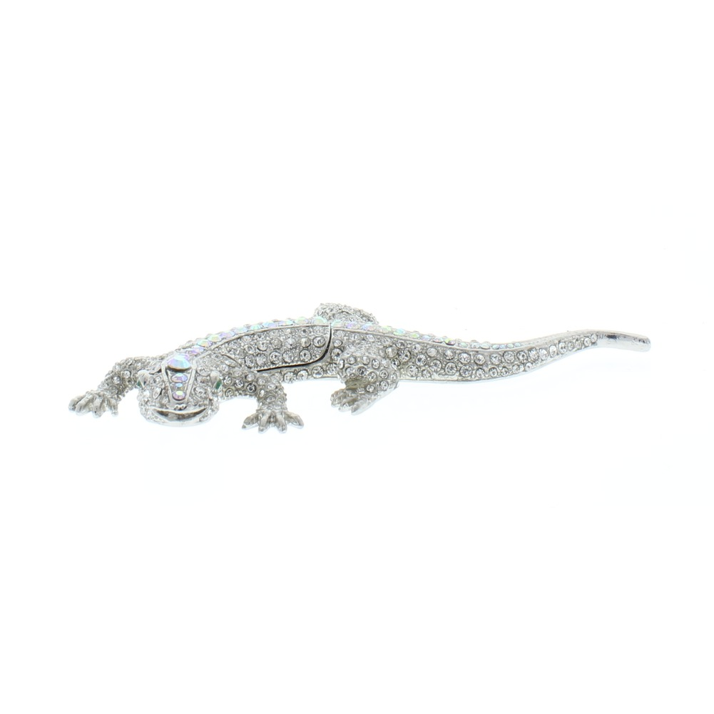 Jeweled Clear Lizard Crystal Ciel Hinged Collectible Trinket Box