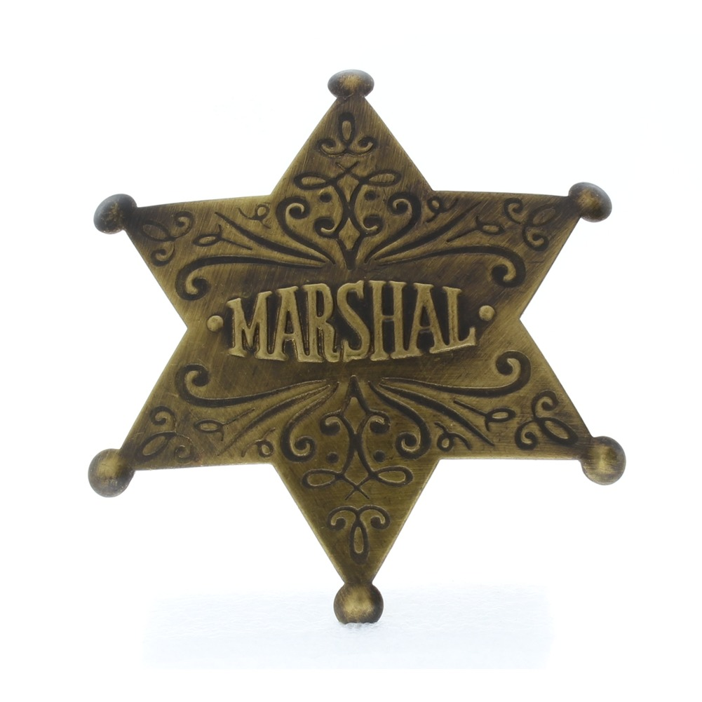 Embossed with Raised Lettering Marshal Solid Brass Badge Pin