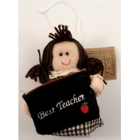 Best Teacher Gift Card Holder Holiday Ornament  Brunette Hair