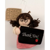 Thank You Teacher Gift Card Holder Holiday Ornament Brunette Hair Glasses