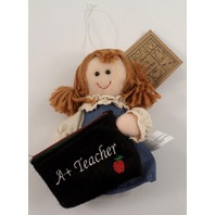 A+ Teacher Gift Card Holder Holiday Ornament Blond Hair