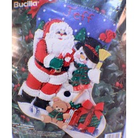 "Bucilla Santa & Snowman 15"" Diag. Christmas Felt Stocking KIT Personalizable '94"