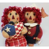 Hanna's Handiworks Raggedy American Shelf Sitter Ann and Andy dolls Flag