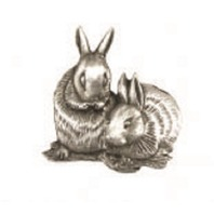 A.E. Williams Fine Brittish Pewter Lapel Hat Pin Bunny Rabbits #35121