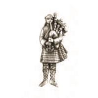 A.E. Williams Fine Brittish Pewter Lapel Hat Pin Piper Bag Pipes Man  #35610