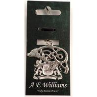 A.E. Williams Fine Brittish Pewter Bear Celtic Design Keychain Key Fob #35805Kr