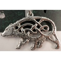 A.E. Williams Fine Brittish Pewter Bear Celtic Design Keychain Key Fob #35805Kr