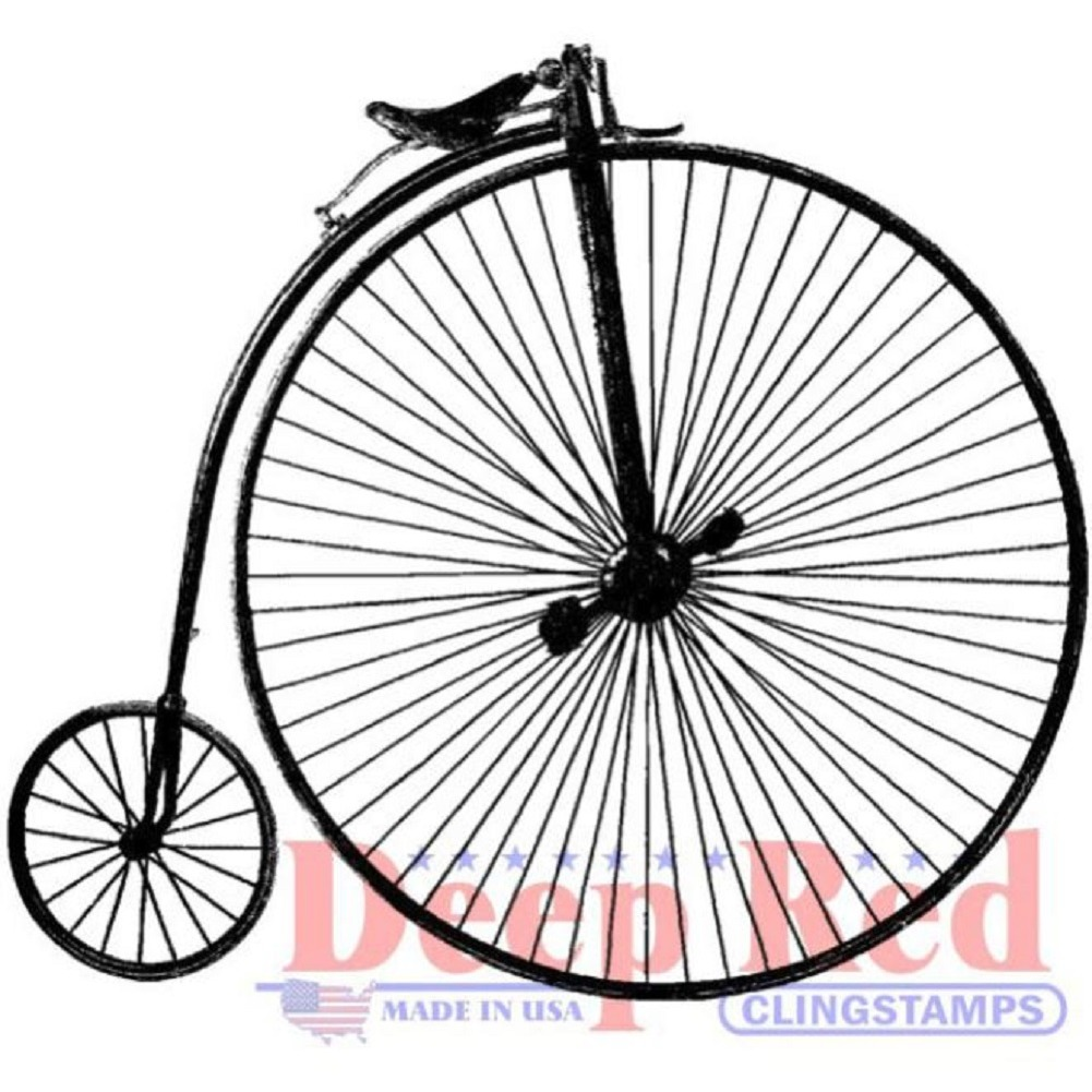 Deep Red Rubber Cling Stamp Penny Farthing Vintage Style Bike Bicycle