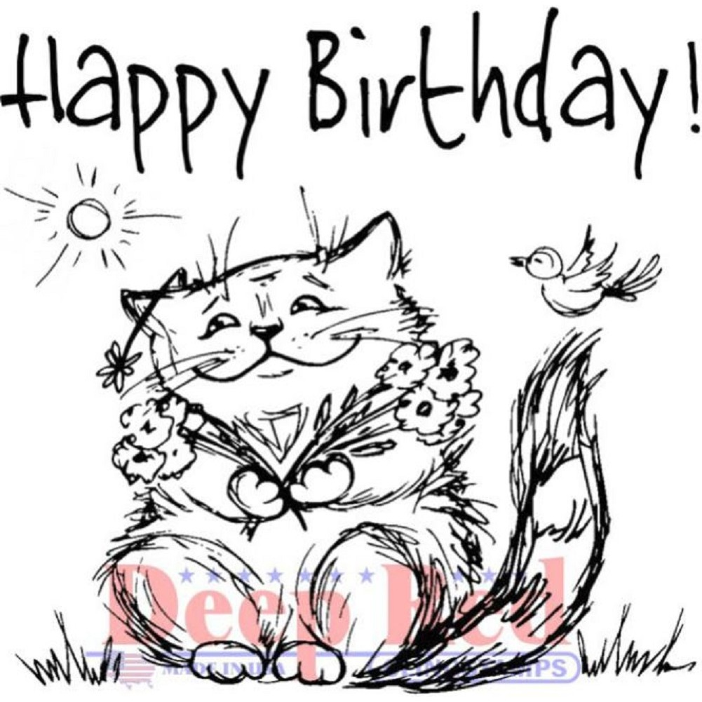 Deep Red Rubber Cling Stamp Happy Birthday Cat Kitten