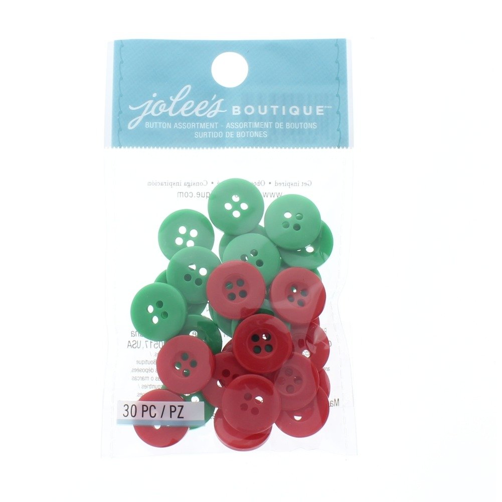 Jolee'S Boutique Jolees red and green Holiday Button Lot Scrapbook Sewing