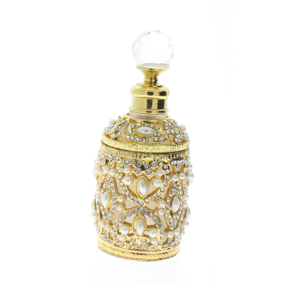 Ciel Jeweled Vintage Inspired Gold Tone  Pearl Refillable Crystal Perfume Bottle Atomizer