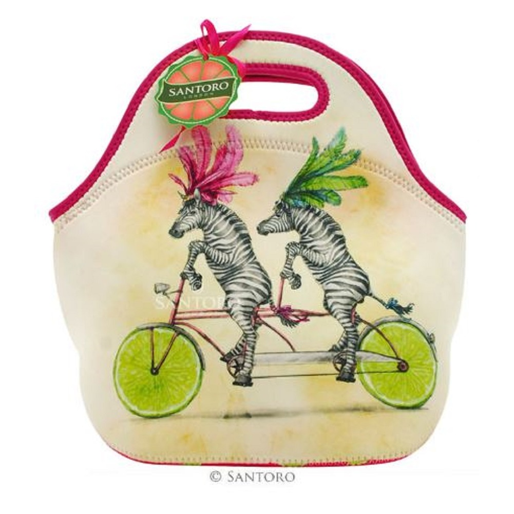 Santoro London Handbag Purse Neoprene Lunch Bag Fruity Scooty Zebra