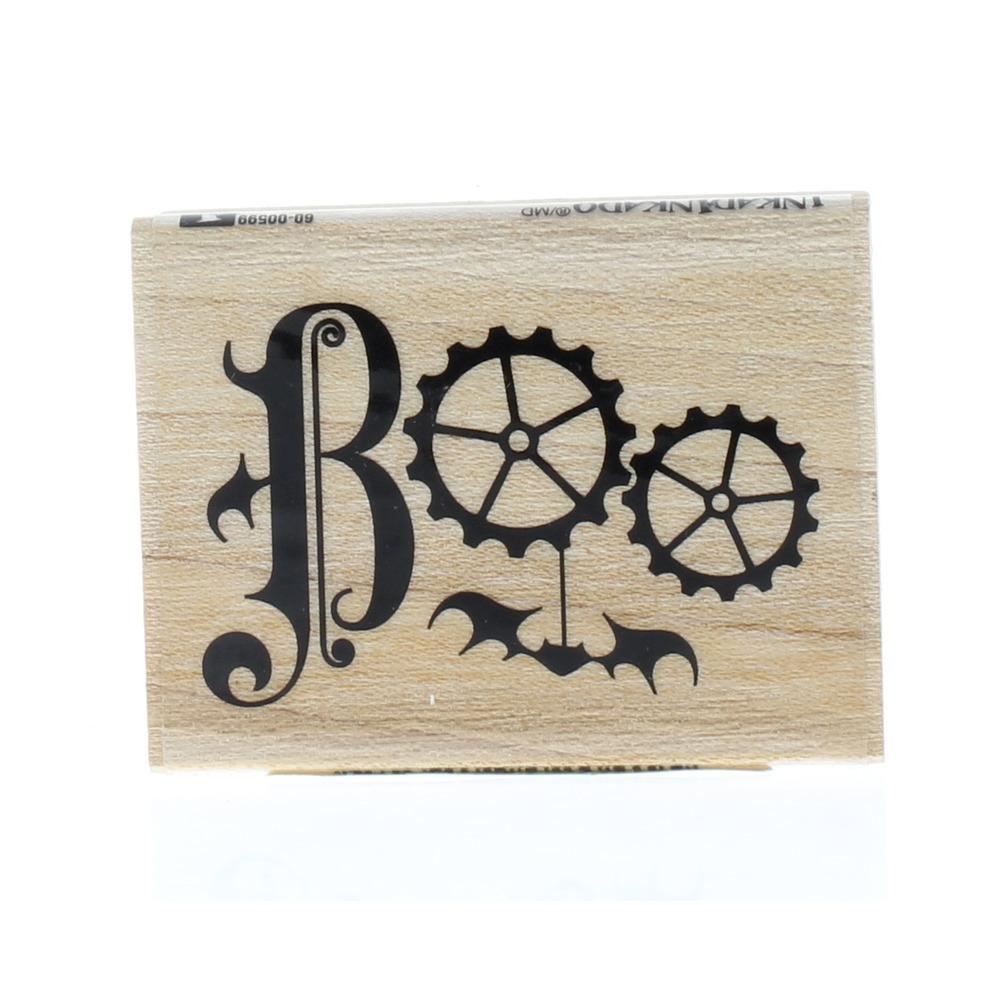 Inkadinkado Boo Spooky Steam Punk Gears Bat Writing Wooden Rubber Stamp