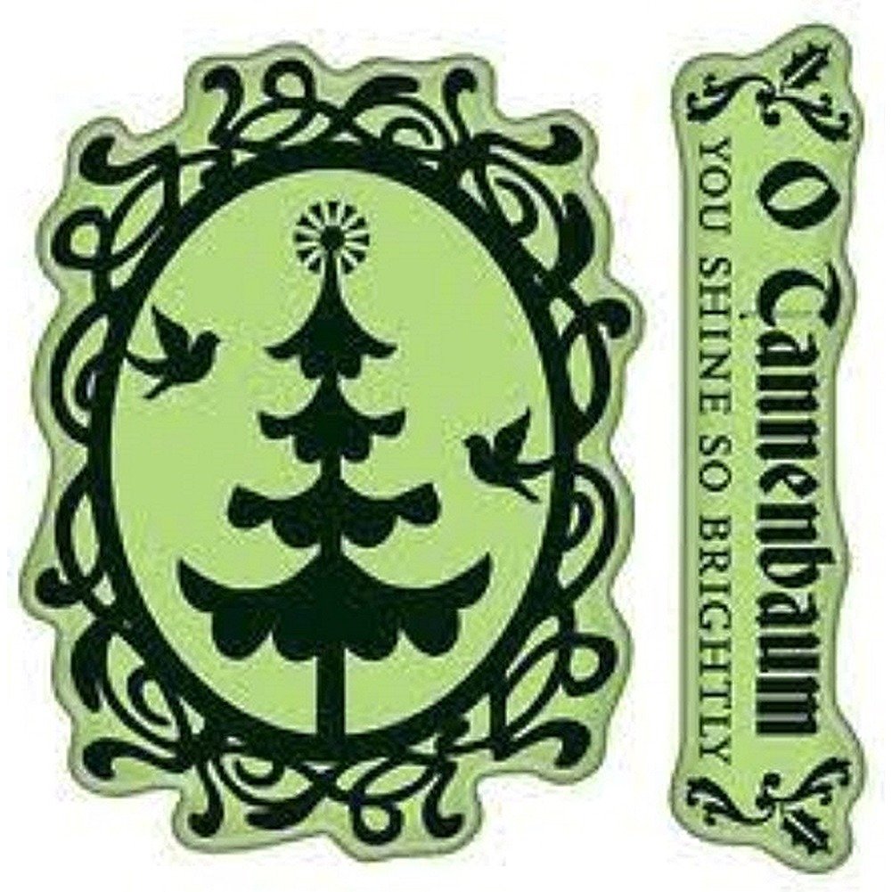 Inkadinkado O Christmas Tree Cameo O Tannenbaum Merry Cling Rubber Stamp