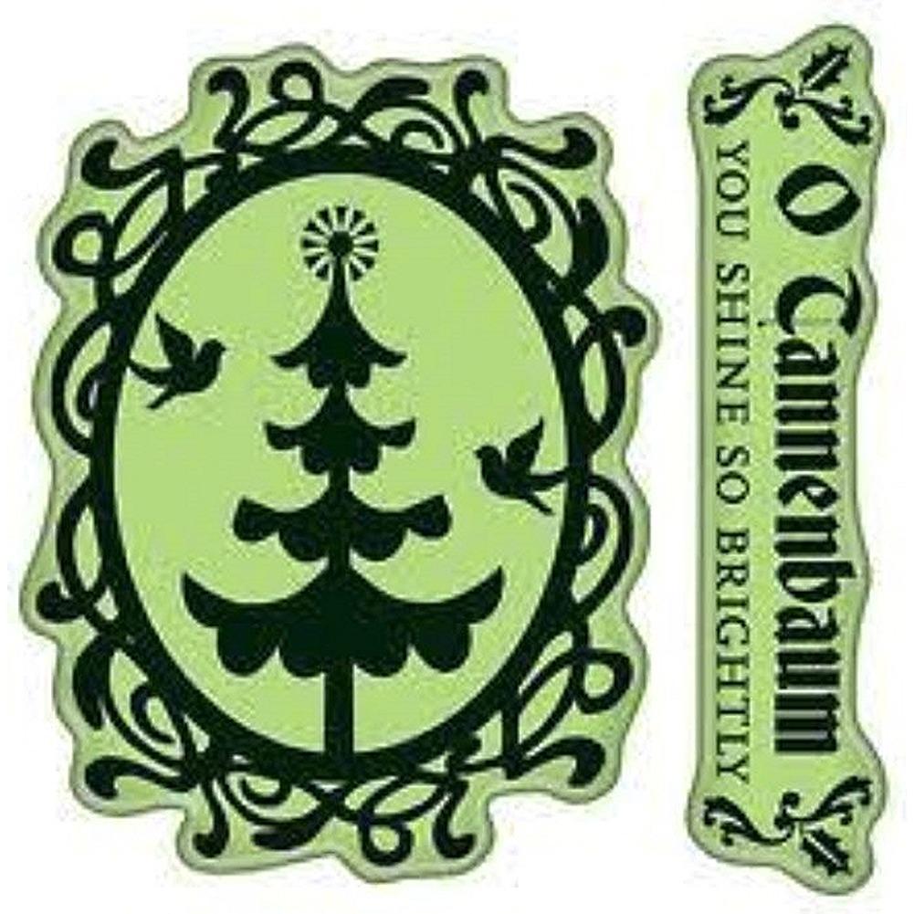 Inkadinkado O Christmas Tree Cameo O Cannenbaum Merry Cling Rubber Stamp