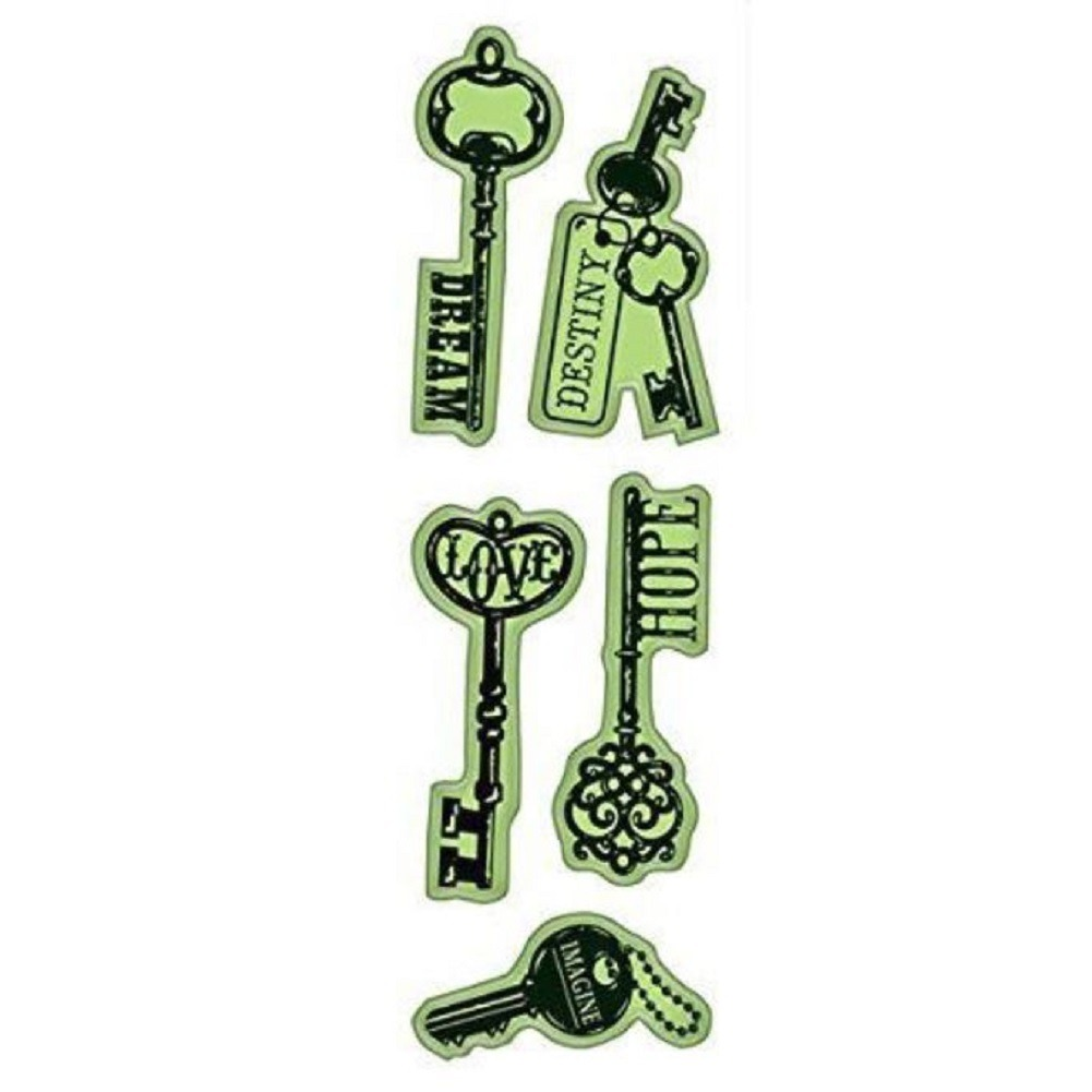 Inkadinkado Key of Hope Dreams Destiny Love Cling Rubber Stamp