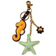 Chala Seahorse & Starfish Charming Key Chain Purse Bag Fob Charm