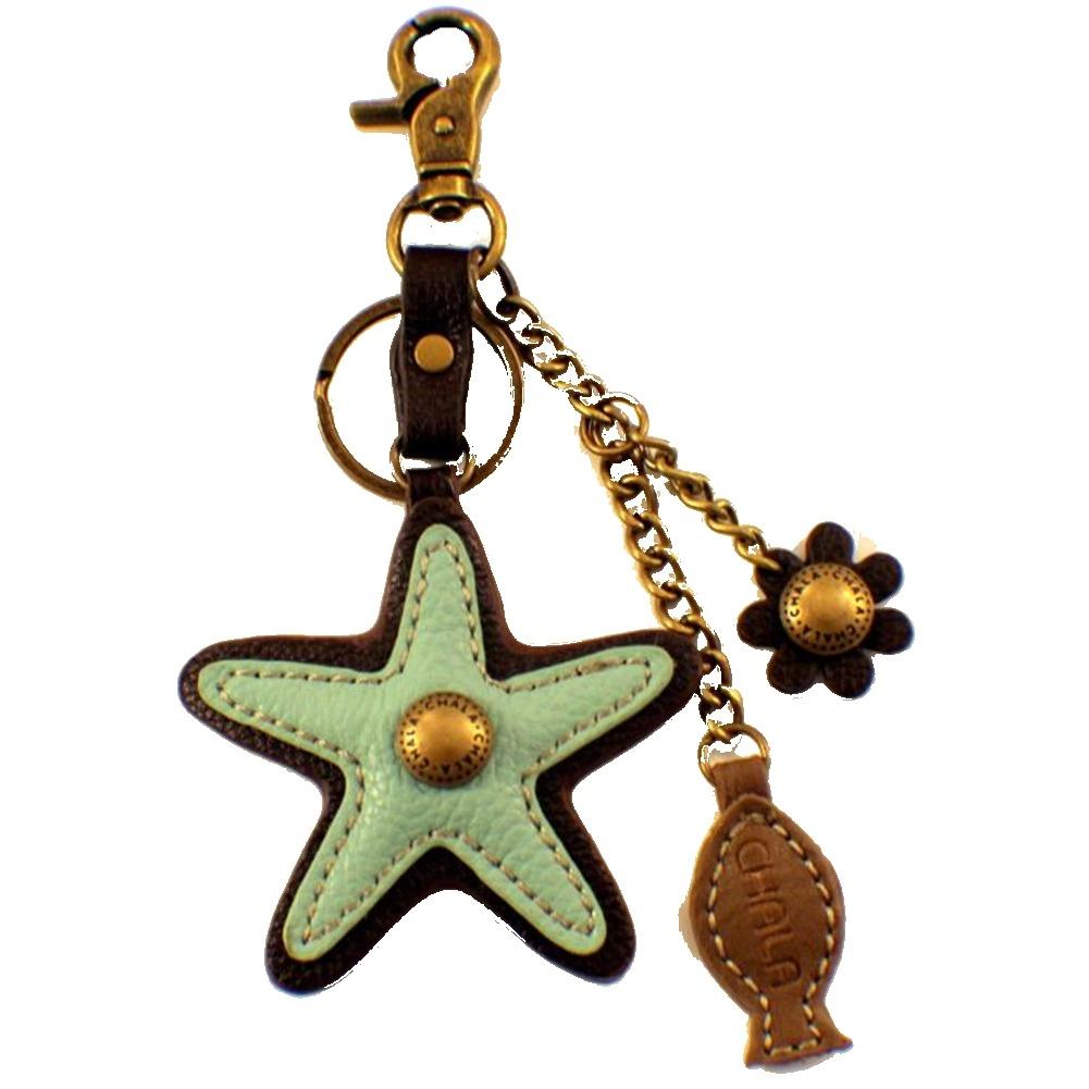 Chala Aqua Starfish Charming Key Chain Purse ag Fob Charm