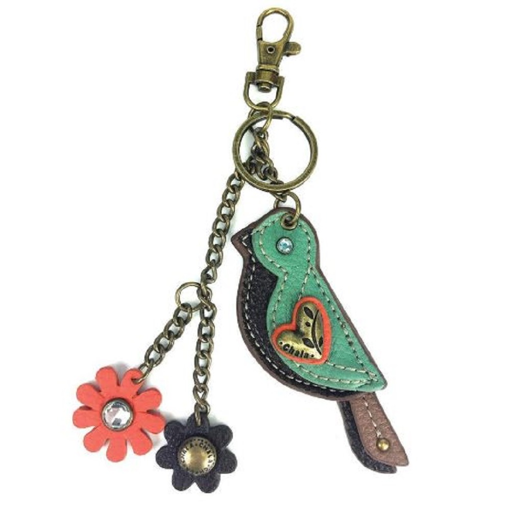 Chala Spring Biddle Bird Key Chain Purse Leather Bag Fob Charm New