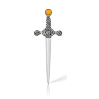 Pewter A.E. Williams Celtic Thistle Kilt Pin with Amber colored stone