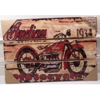 Indian Motorcycle Wooden Wall Sign Plaque 1934 Vintage Patina